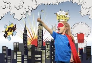 girl at a superhero photoshoot