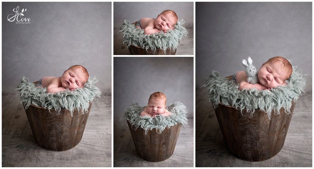 baby boy posed in a bucket